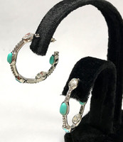Turquoise and Crystal Hoops
