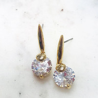 Gold C.Z. Drop Earring