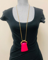 Long Bold Pink Pendant Necklace