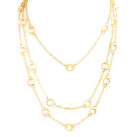Open Circle Triple Draped Chain Gold