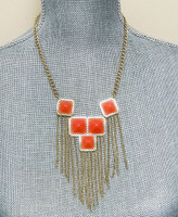 Squares and Fringe Necklace Coral