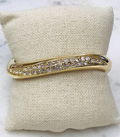 Wavy Polished Gold Bangle with Crystal Inset