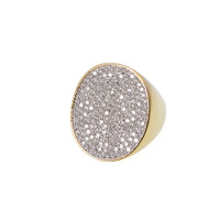 Large Circular Pave Set Ring Gold