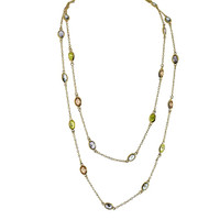Soft Pastel Long Crystal Chain