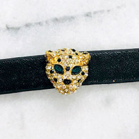 Panther Head Leather Bracelet
