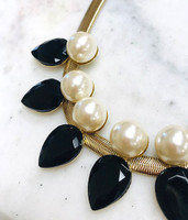 Black Teardrops and Pearls Necklace