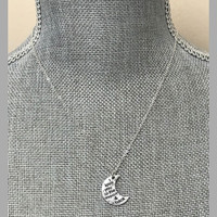 Silver or Gold Moon and Back Necklace