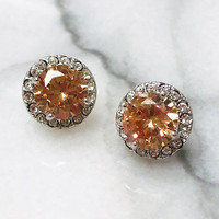 Golden Topaz Swarovski Crystal Posts