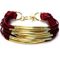 Ruby/Gold Bar Bracelet
