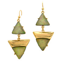 Deco Triangles Earrings Gray Opal