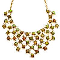 Gray Opal Chiclet Bib Necklace
