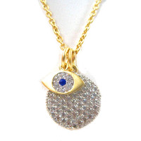 C.Z. Pave Disk with Evil Eye Dangle