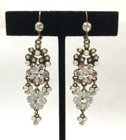 Antiqued Brass Earrings with AB Crystals and White Flowers