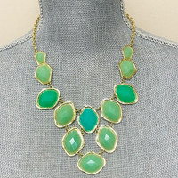 Mint Diamond Jewels Bib Necklace