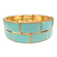 Bright Mint Enamel Block Bracelet