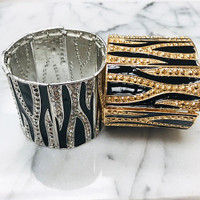 Zebra Patterned Metal Cuff