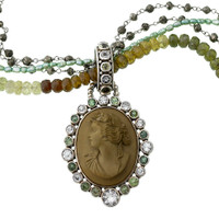 Mars and Valentine's Lava Cameo With Green Tourmaline Necklace