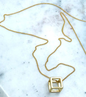 The Cube Necklace in Gold