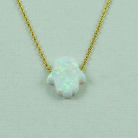 White Opal Resin Hamsa Necklace