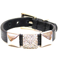 Pyramid Stud Leather Bracelet