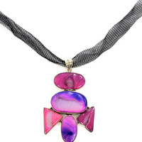 Hot Pink Banded Agate Necklace
