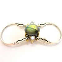 Reversible High-Set Gemstone Rings RQTZ, LAB