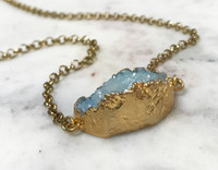Blue Druzy Stone Necklace