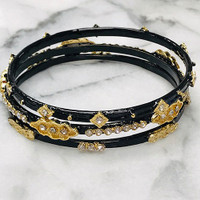 Slim Black Embellished Bangle Set