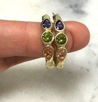 Twisted Byzantine Jeweled Hoop Earrings
