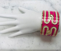 Pink and White Enamel Design Cuff