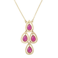 Fuchsia Lotus Petal Dangling Necklace