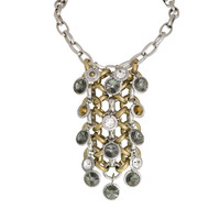 Large Chain/Mixed round Crystal Bib Necklace
