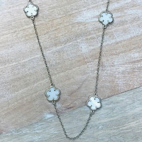 Long White Flower Station Chain Necklace