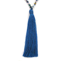 Iridescent Jewel Tone Metallic Crystal Beads & Tassel Necklace