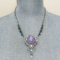 Victorian Purple and Pink Medallion Necklace