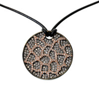Cheetah Patterned Medallion Necklace