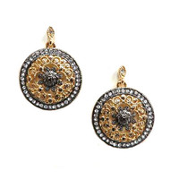Gunmetal and Gold Round Filigree Drops