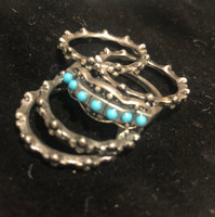 Stackable Turquoise and Antiqued Silver Rings