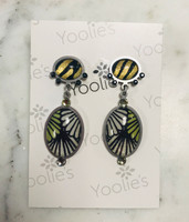 Fabric and Enamel Drop Earring