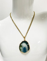 Natural Blue Agate Stone Necklace