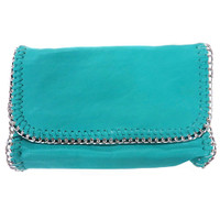 Turquoise Chain Edged Clutch