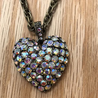 50's Inspired AB Heart Necklace
