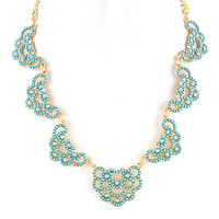 Blue Seed Bead Lace Motif Necklace