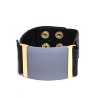 Large Lavender and Leather Cuff