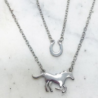Layered Winner's Circle Horse Necklace