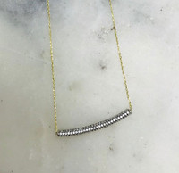 Vermeil Zirconia Curved Bar Necklace