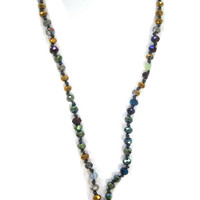 Iridescent Jewel Tone Metallic Crystal Beads & Tassel Necklace 2
