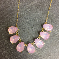 Blush Pink Crystal Teardrops Necklace