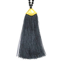 Jet Crystals & Gray Fan Tassel Necklace