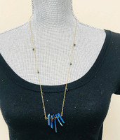 Long Electric Blue Patina Spikes Necklace
